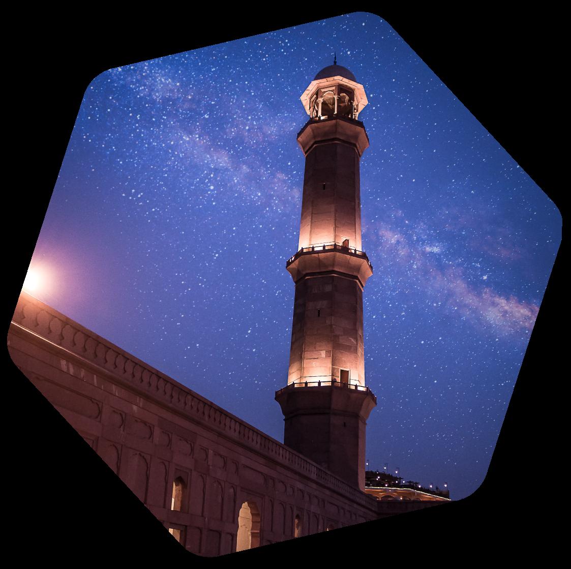 Pakistani Mosque at night
