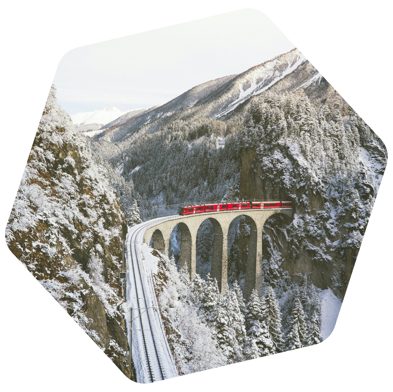 Swiss train in the mountains