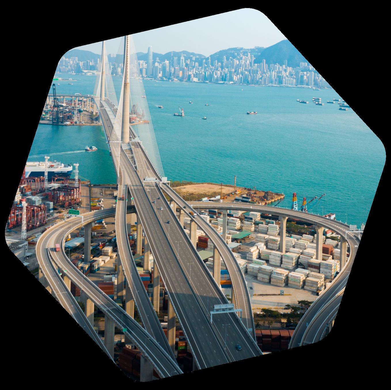 Hong Kong port and bridge