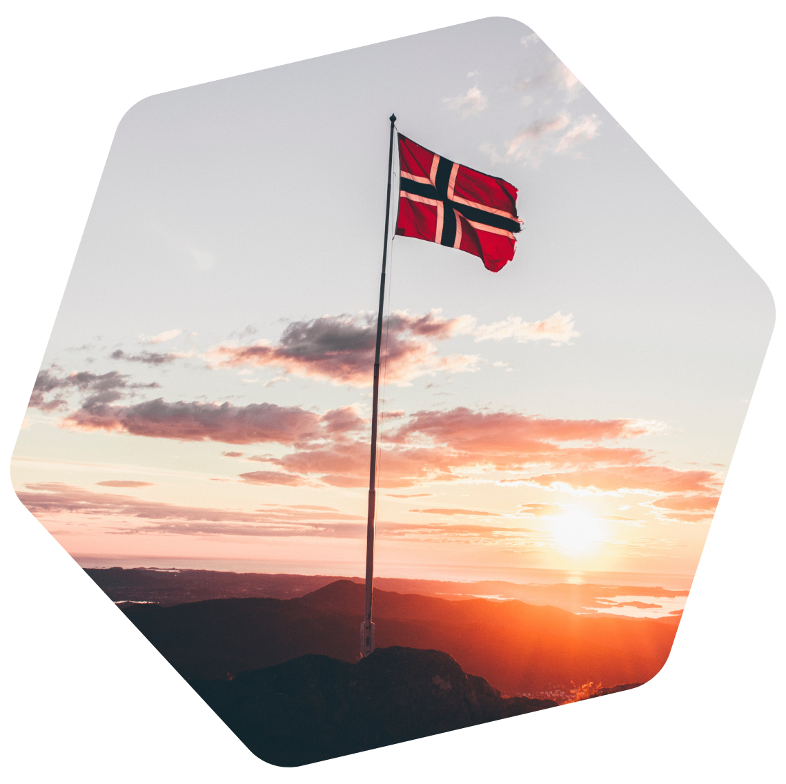 Norway flag on the sunset