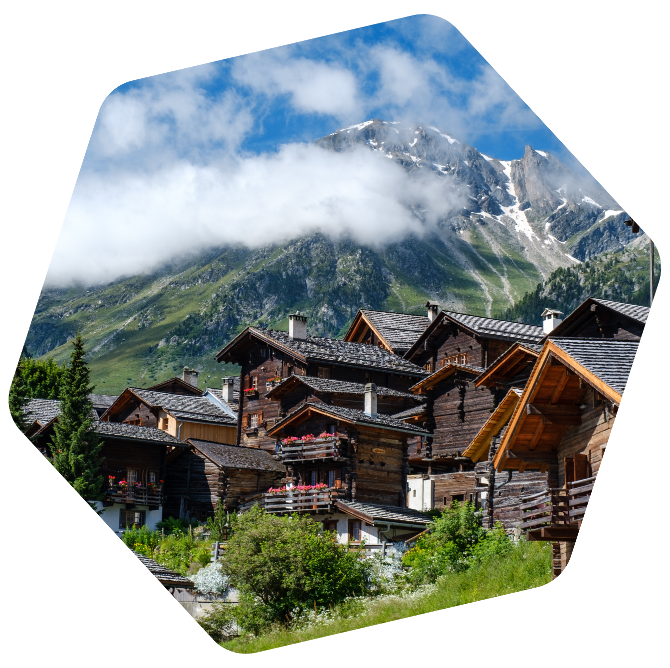 Swiss chalet in mountains